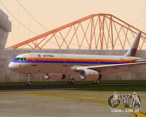 Airbus A321-200 United Airlines para GTA San Andreas esquerda vista