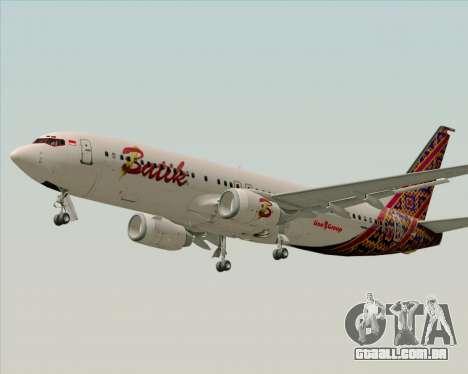 Boeing 737-800 Batik Air para GTA San Andreas vista interior