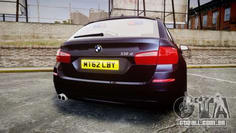 BMW 530d F11 Unmarked Police [ELS] para GTA 4 traseira esquerda vista