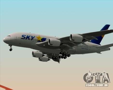 Airbus A380-800 Skymark Airlines para vista lateral GTA San Andreas