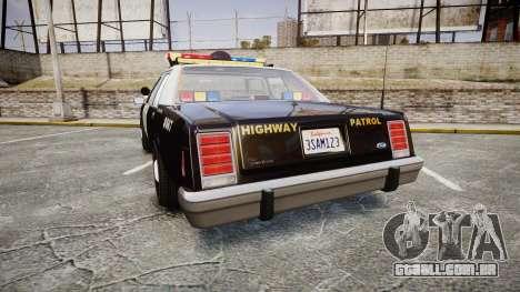 Ford LTD Crown Victoria 1987 Police CHP1 [ELS] para GTA 4 traseira esquerda vista