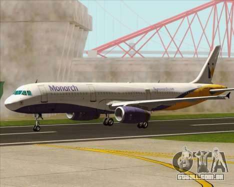Airbus A321-200 Monarch Airlines para GTA San Andreas vista superior