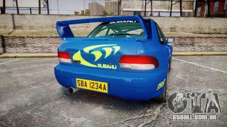 Subaru Impreza WRC 1998 World Rally v3.0 Green para GTA 4 traseira esquerda vista