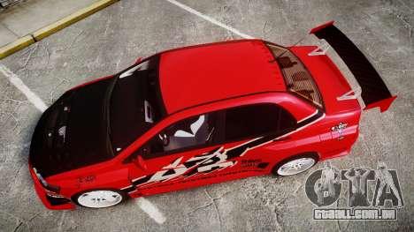 Mitsubishi Lancer Evolution IX Fast and Furious para GTA 4 vista direita