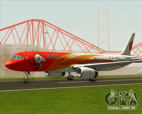 Airbus A321-200 Air China (Beautiful Sichuan) para GTA San Andreas traseira esquerda vista