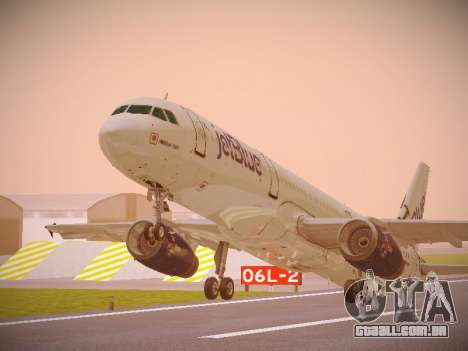 Airbus A321-232 jetBlue I love Blue York para GTA San Andreas esquerda vista