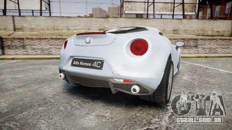Alfa Romeo 4C para GTA 4 traseira esquerda vista