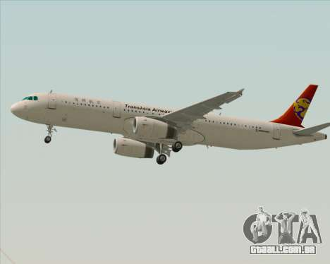 Airbus A321-200 TransAsia Airways para GTA San Andreas traseira esquerda vista