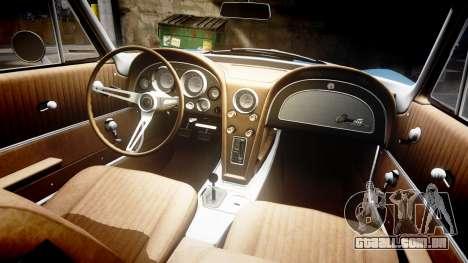 Chevrolet Corvette Stingray 1963 v2.0 para GTA 4 vista interior