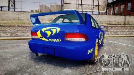 Subaru Impreza WRC 1998 Rally v2.0 Yellow para GTA 4 traseira esquerda vista