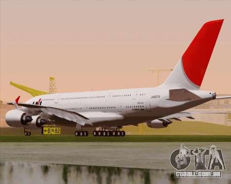 Airbus A380-800 Japan Airlines (JAL) para GTA San Andreas vista direita