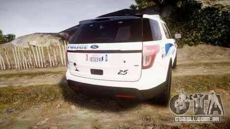 Ford Explorer 2013 PS Police [ELS] para GTA 4 traseira esquerda vista