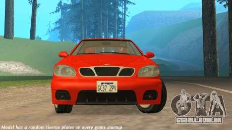 Daewoo Lanos Esporte EUA 2001 para GTA San Andreas vista superior