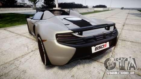 McLaren 650S Spider 2014 [EPM] v2.0 para GTA 4 traseira esquerda vista