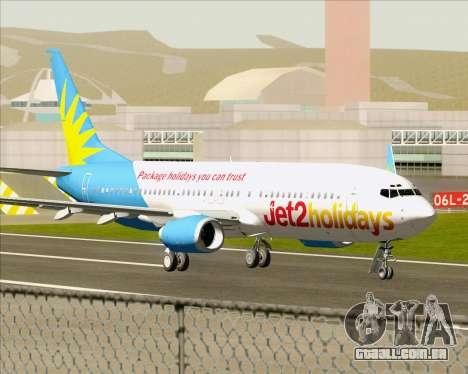 Boeing 737-800 Jet2Holidays para GTA San Andreas traseira esquerda vista