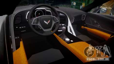 Chevrolet Corvette C7 Stingray 2014 v2.0 TireBFG para GTA 4 vista interior