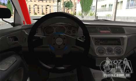 Mitsubishi Lancer EVO IX para GTA San Andreas traseira esquerda vista