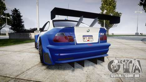 BMW M3 E46 GTR Most Wanted plate NFS-Hero para GTA 4 traseira esquerda vista