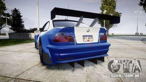 BMW M3 E46 GTR Most Wanted plate NFS-Hero para GTA 4 traseira esquerda vista
