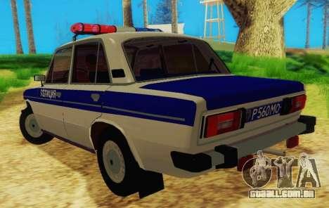 VAZ-2106 Polícia para GTA San Andreas traseira esquerda vista