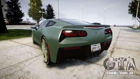 Chevrolet Corvette C7 Stingray 2014 v2.0 TirePi2 para GTA 4 traseira esquerda vista