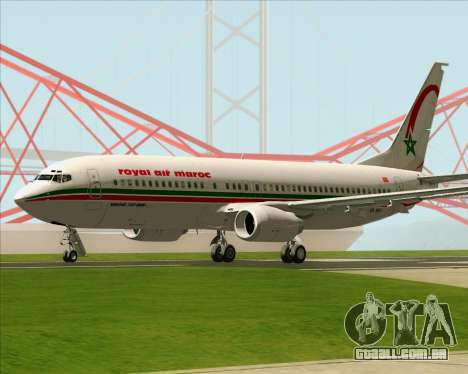 Boeing 737-8B6 Royal Air Maroc (RAM) para GTA San Andreas vista direita
