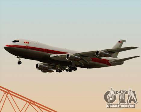 Boeing 747-100 Trans World Airlines (TWA) para GTA San Andreas vista interior