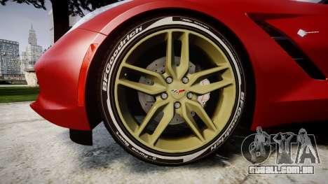 Chevrolet Corvette C7 Stingray 2014 v2.0 TireBFG para GTA 4 vista de volta
