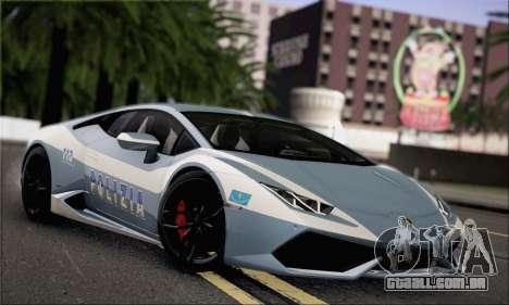 Lamborghini Huracan LP610-4 2015 Rim para GTA San Andreas vista traseira