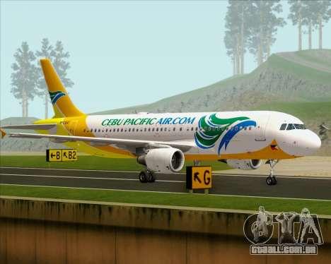 Airbus A320-200 Cebu Pacific Air para GTA San Andreas traseira esquerda vista