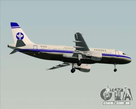 Airbus A320-200 CNAC-Zhejiang Airlines para vista lateral GTA San Andreas