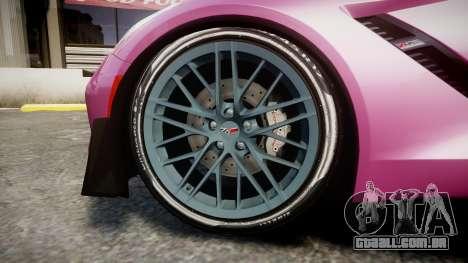 Chevrolet Corvette Z06 2015 TirePi1 para GTA 4 vista de volta