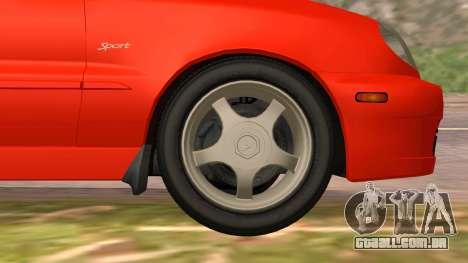 Daewoo Lanos Esporte EUA 2001 para GTA San Andreas interior