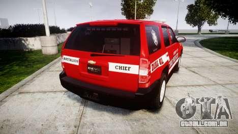 Chevrolet Tahoe Fire Chief [ELS] para GTA 4 traseira esquerda vista