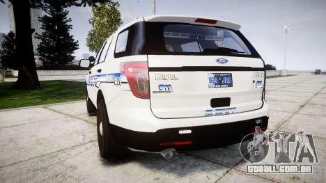 Ford Explorer 2013 [ELS] Liberty County Sheriff para GTA 4 traseira esquerda vista