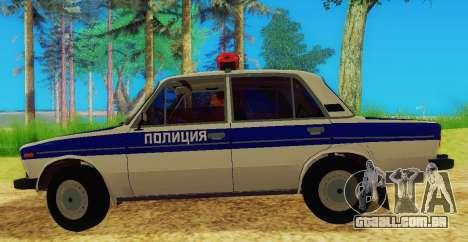 VAZ-2106 Polícia para GTA San Andreas esquerda vista