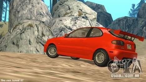 Daewoo Lanos Esporte EUA 2001 para vista lateral GTA San Andreas