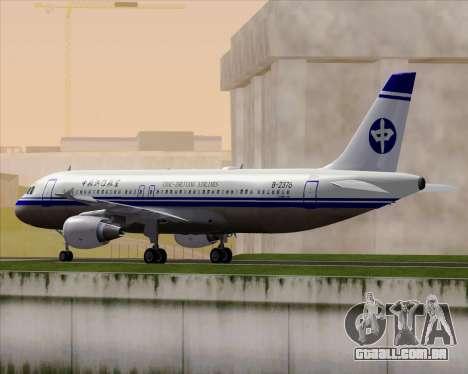 Airbus A320-200 CNAC-Zhejiang Airlines para GTA San Andreas traseira esquerda vista