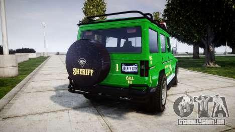 GTA V Benefactor Dubsta [ELS] Sheriff para GTA 4 traseira esquerda vista
