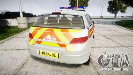 Vauxhall Astra 2010 Metropolitan Police [ELS] para GTA 4 traseira esquerda vista