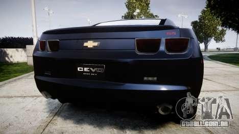 Chevrolet Camaro SS [ELS] Unmarked interceptors para GTA 4 traseira esquerda vista