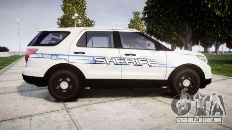 Ford Explorer 2013 [ELS] Liberty County Sheriff para GTA 4 esquerda vista