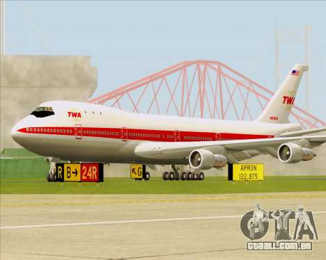 Boeing 747-100 Trans World Airlines (TWA) para GTA San Andreas esquerda vista