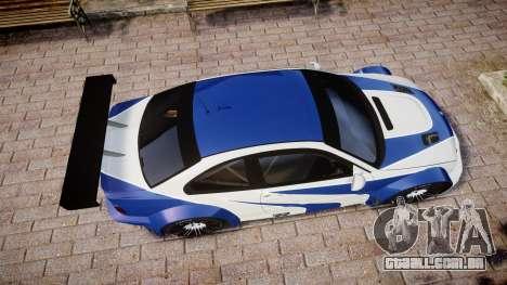 BMW M3 E46 GTR Most Wanted plate NFS Carbon para GTA 4 vista direita