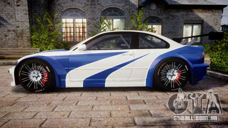 BMW M3 E46 GTR Most Wanted plate NFS Carbon para GTA 4 esquerda vista
