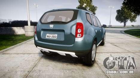 Dacia Duster 2013 para GTA 4 traseira esquerda vista