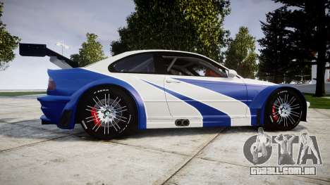 BMW M3 E46 GTR Most Wanted plate NFS-Hero para GTA 4 esquerda vista