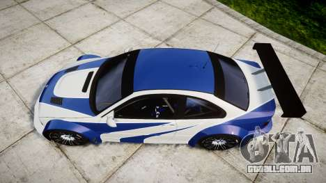 BMW M3 E46 GTR Most Wanted plate NFS-Hero para GTA 4 vista direita