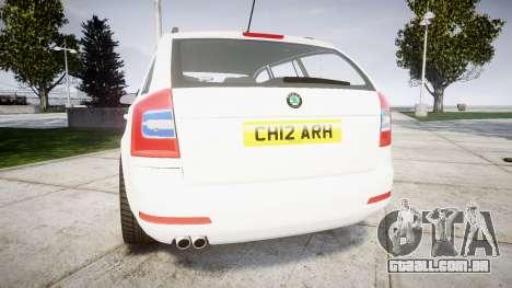 Skoda Octavia vRS Combi Unmarked Police [ELS] para GTA 4 traseira esquerda vista