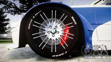 BMW M3 E46 GTR Most Wanted plate NFS Carbon para GTA 4 vista de volta
